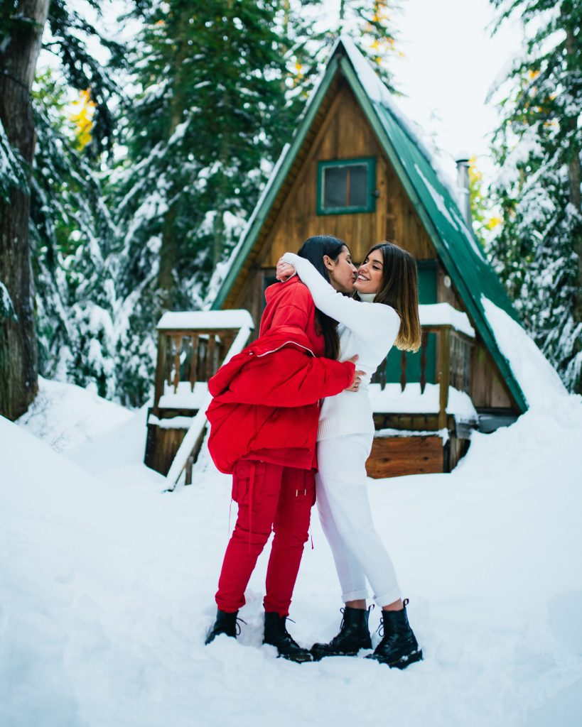 Gay Engagement photography of a couple taken on Cypress Mountain, Vancouver