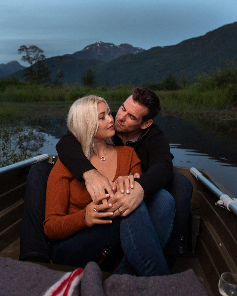 Couple on boat pitt lake engagement photography