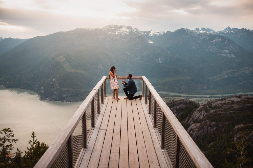 Sea to Sky Gondola Engagement Proposal Photography Couple on Lookout
